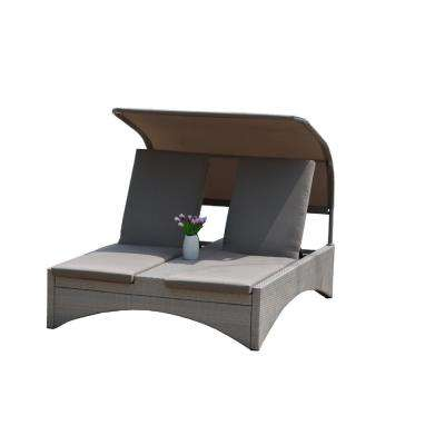 Flores Alu Wicker Outdoor Patio Double Chaise Lounge with Shade and Taupe Cushions
