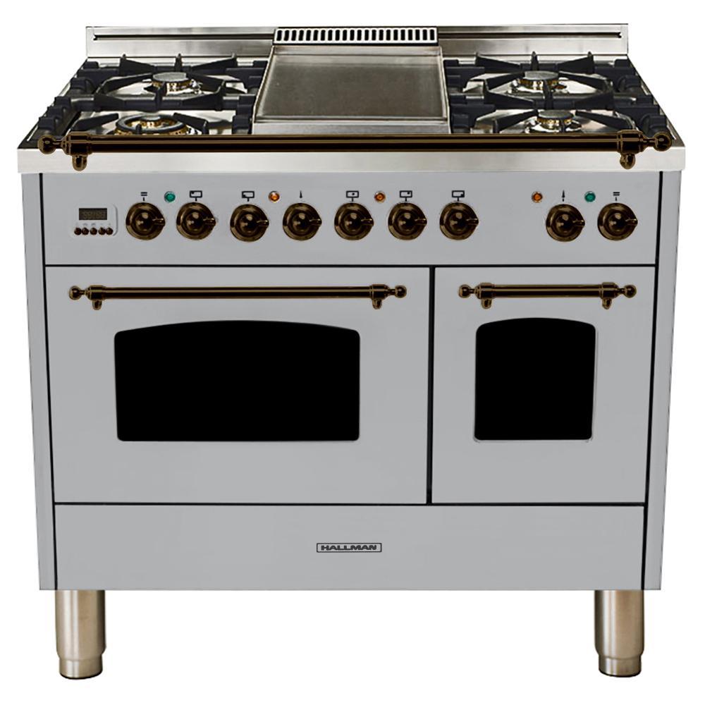 Hallman 40 in. 4.0 cu. ft. Double Oven Dual Fuel Italian Range True Convection,5 Burners, LP Gas, Bronze Trim/Stainless Steel