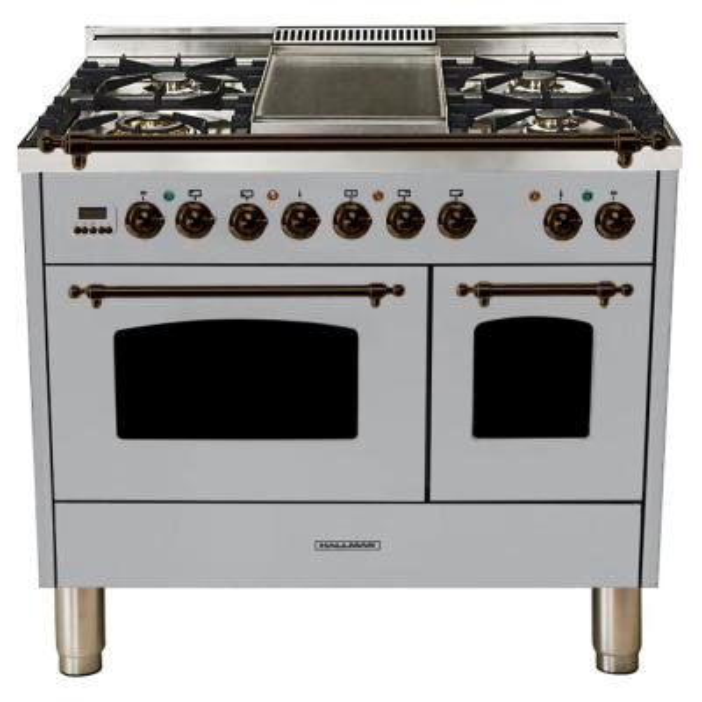 40 in. 4.0 cu. ft. Double Oven Dual Fuel Italian Range True Convection,5 Burners, LP Gas, Bronze Trim/Stainless Steel