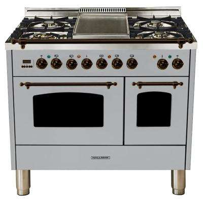 40 in. 4.0 cu. ft. Double Oven Dual Fuel Italian Range True Convection,5 Burners, LP Gas, Bronze Trim/Stainless Steel
