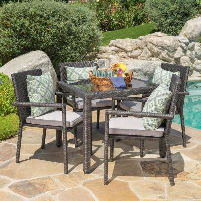 Gray 5-Piece Wicker Square Outdoor Dining Set with Silver Cushion