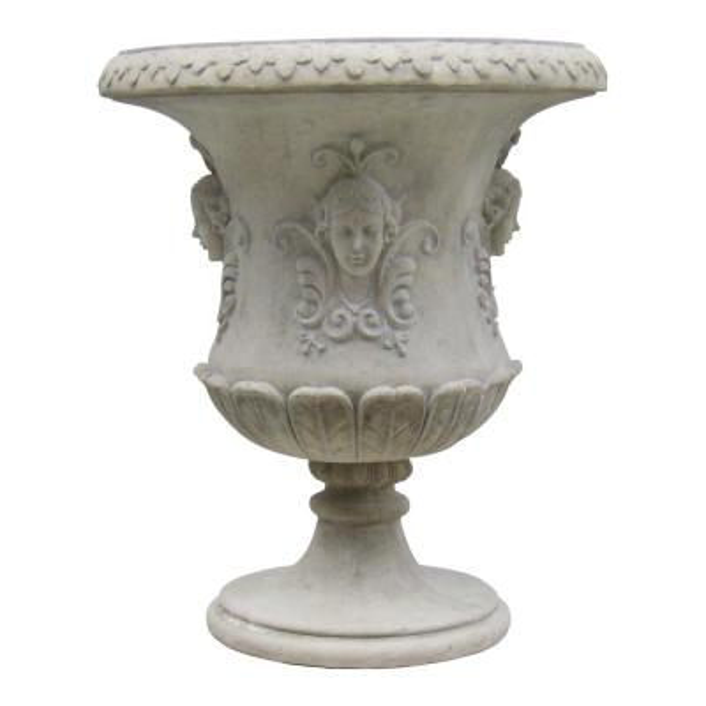 Goddess Flora 35.5 in. H Ancient Ivory Fiberglass Architectural Garden Urn