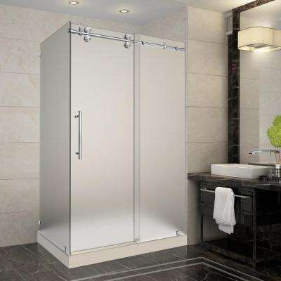 Langham 48 in. x 35 in. x 77.5 in. Frameless Sliding Shower Enclosure and Frosted in Stainless Steel with Left Base