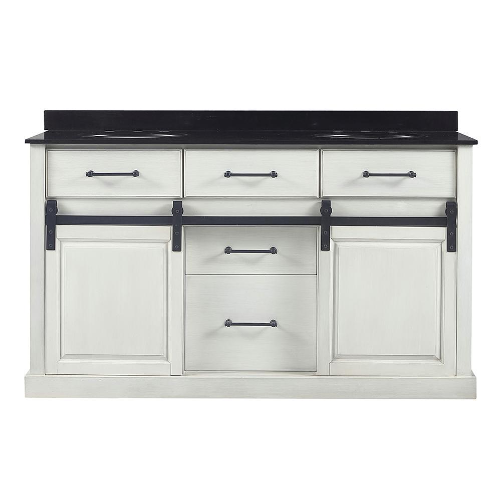 Merceza 60 in. W x 22 in. D Barn Door Vanity in Antique White with Granite Vanity Top in Black with White Sink