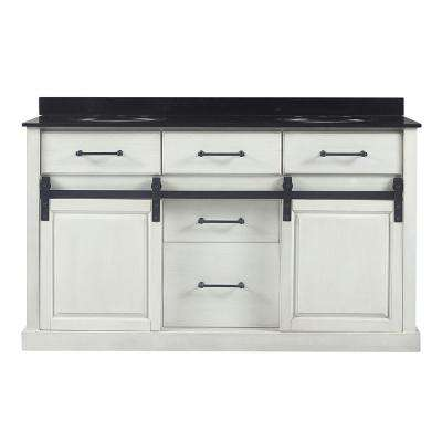 Merceza 60 in. W x 22 in. D Barn Door Vanity in Antique White with Granite Vanity Top in Black with White Sink