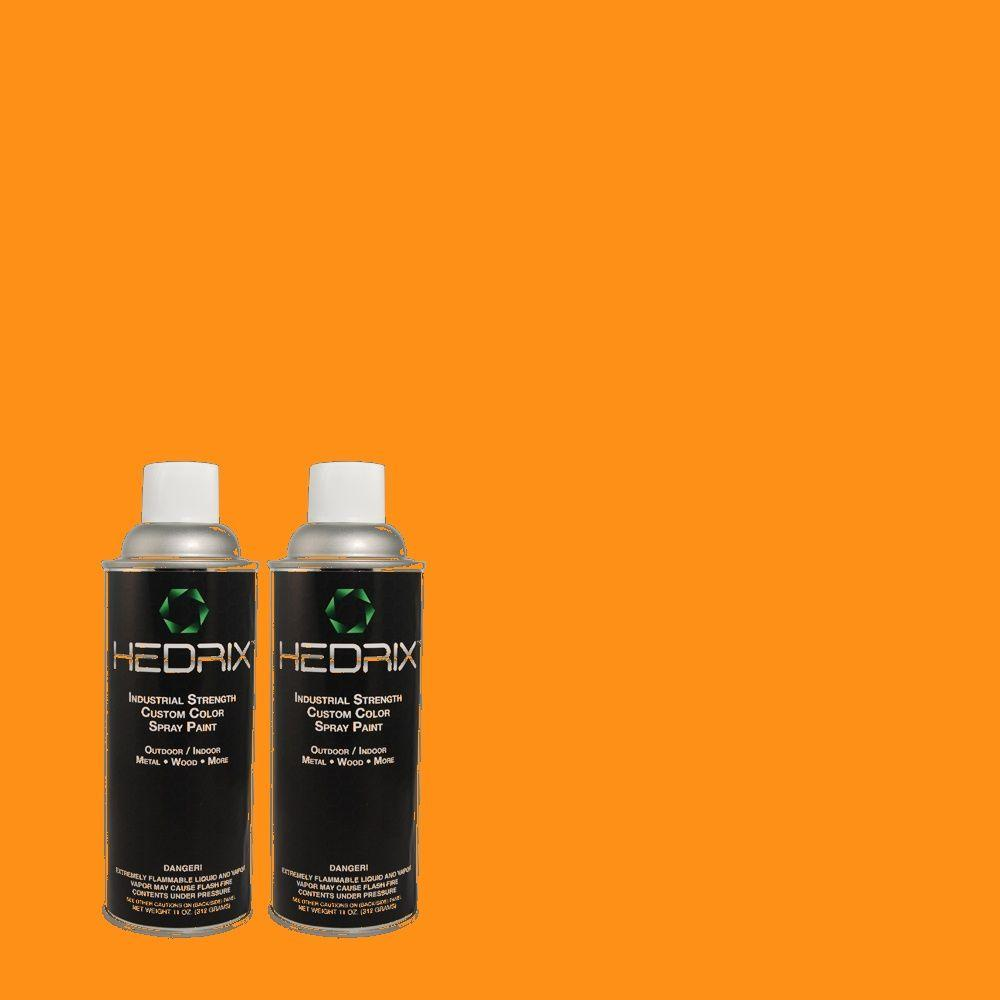 Hedrix 11 oz. Match of S-G-280 Mango Madness Flat Custom Spray Paint (2-Pack)