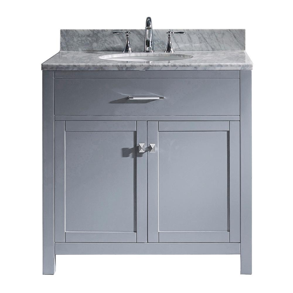 Virtu USA Caroline 36 in. W Bath Vanity in Gray with Marble Vanity Top in White with Round Basin