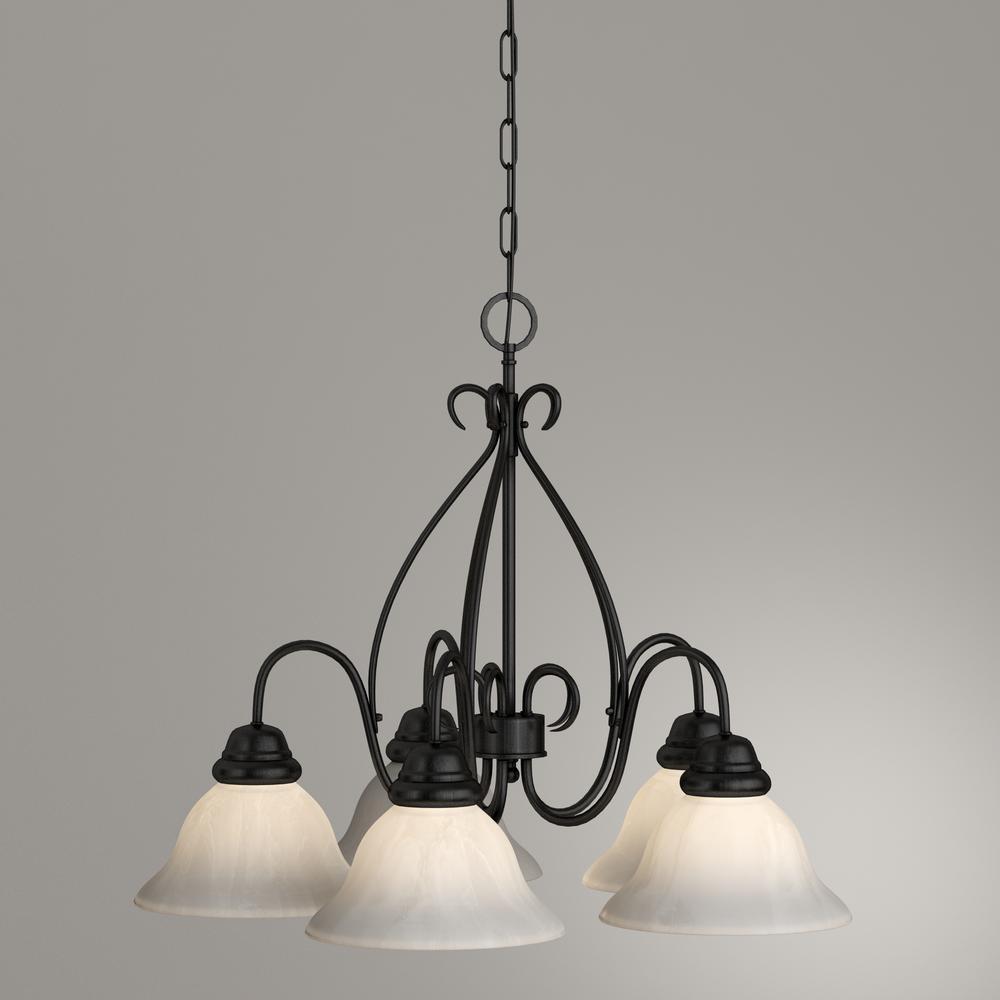 Light Textured Flat Black Chandelier