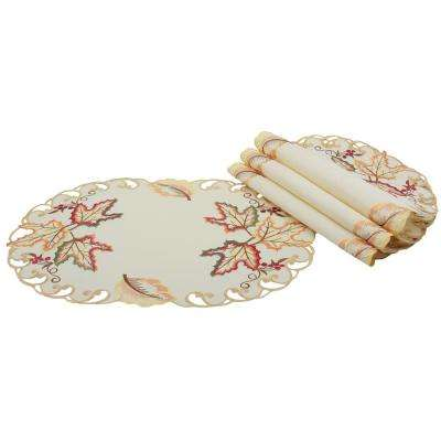 0.1 in. x 13 in. x 19 in. Moissan Leaf Embroidered Cutwork Fall Placemats (4-Set)