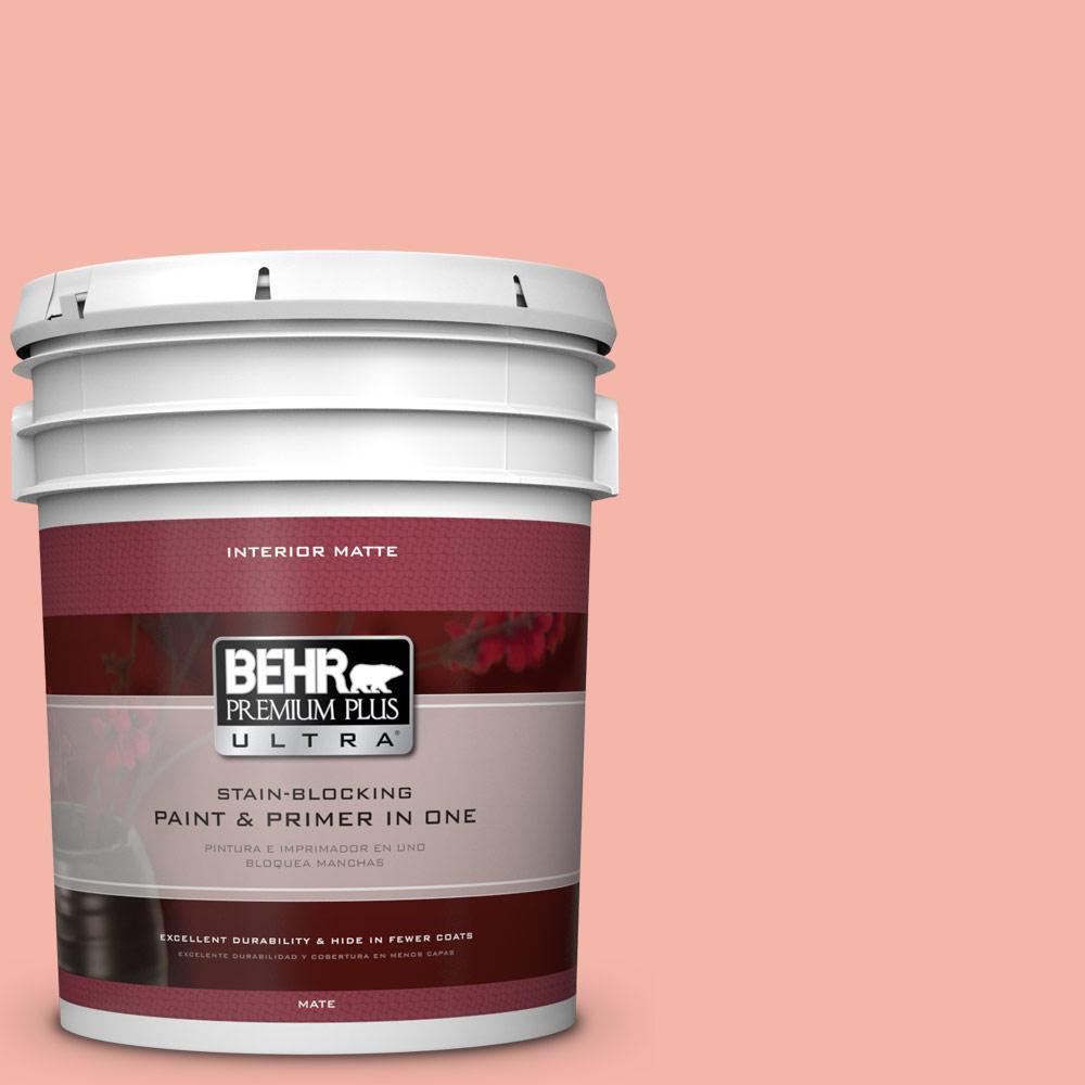 BEHR Premium Plus Ultra 5 gal. #P180-3 Pink Mimosa Matte Interior Paint