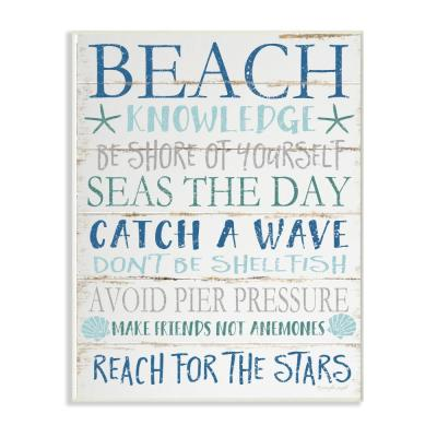 """12 in. x 18 in. """"Beach Knowledge Blue Aqua and White Planked Look Sign Wall Plaque Art"""" by Jennifer Pugh"""