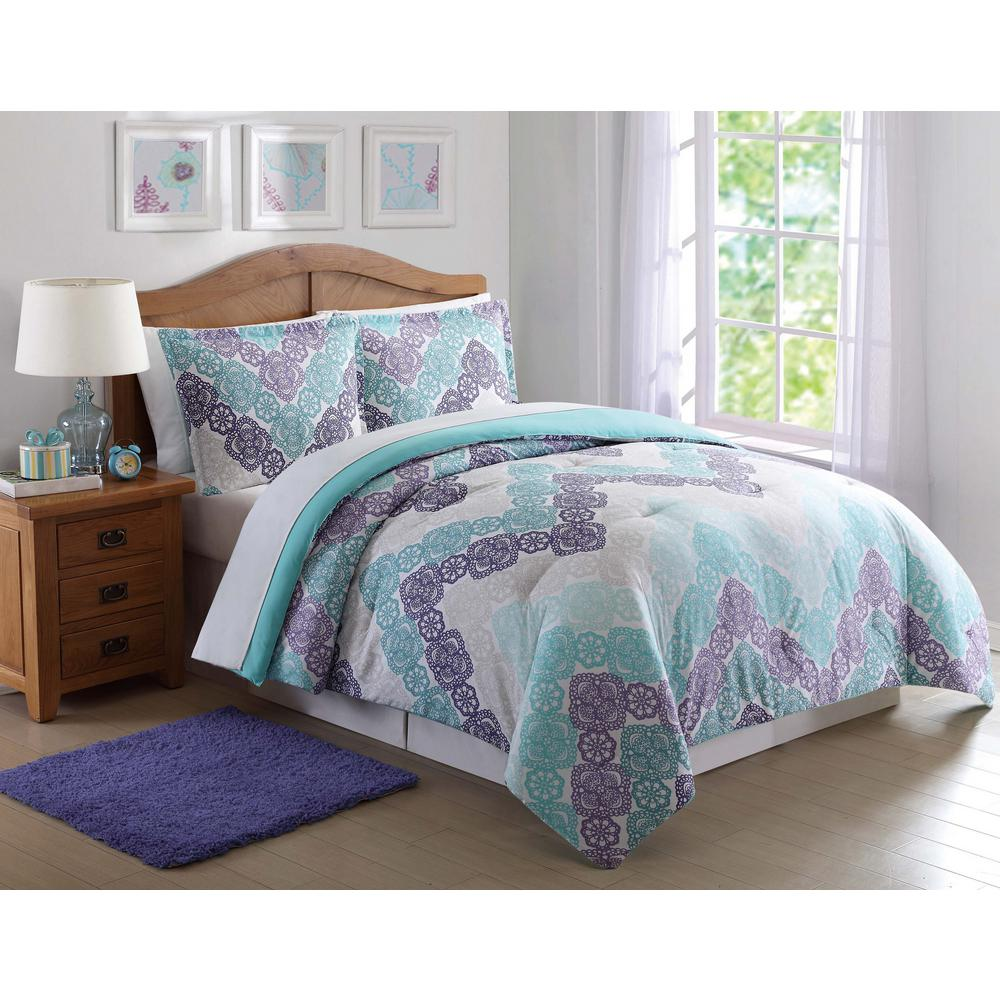 Xl Purple Rug: Antique Lace Chevron Purple And Teal 3-Piece Full And