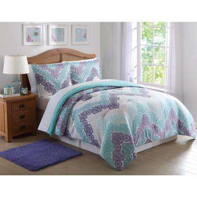 antique lace chevron purple and teal 3piece full and queen comforter set
