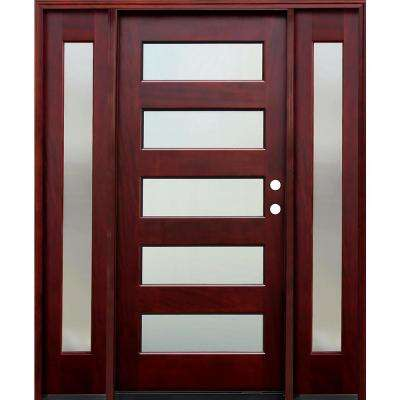 66 in. x 80 in. 5 Lite Mistlite Stained Mahogany Wood Prehung Front Door w/ 6 in. Wall Series, 12 in. Sidelites