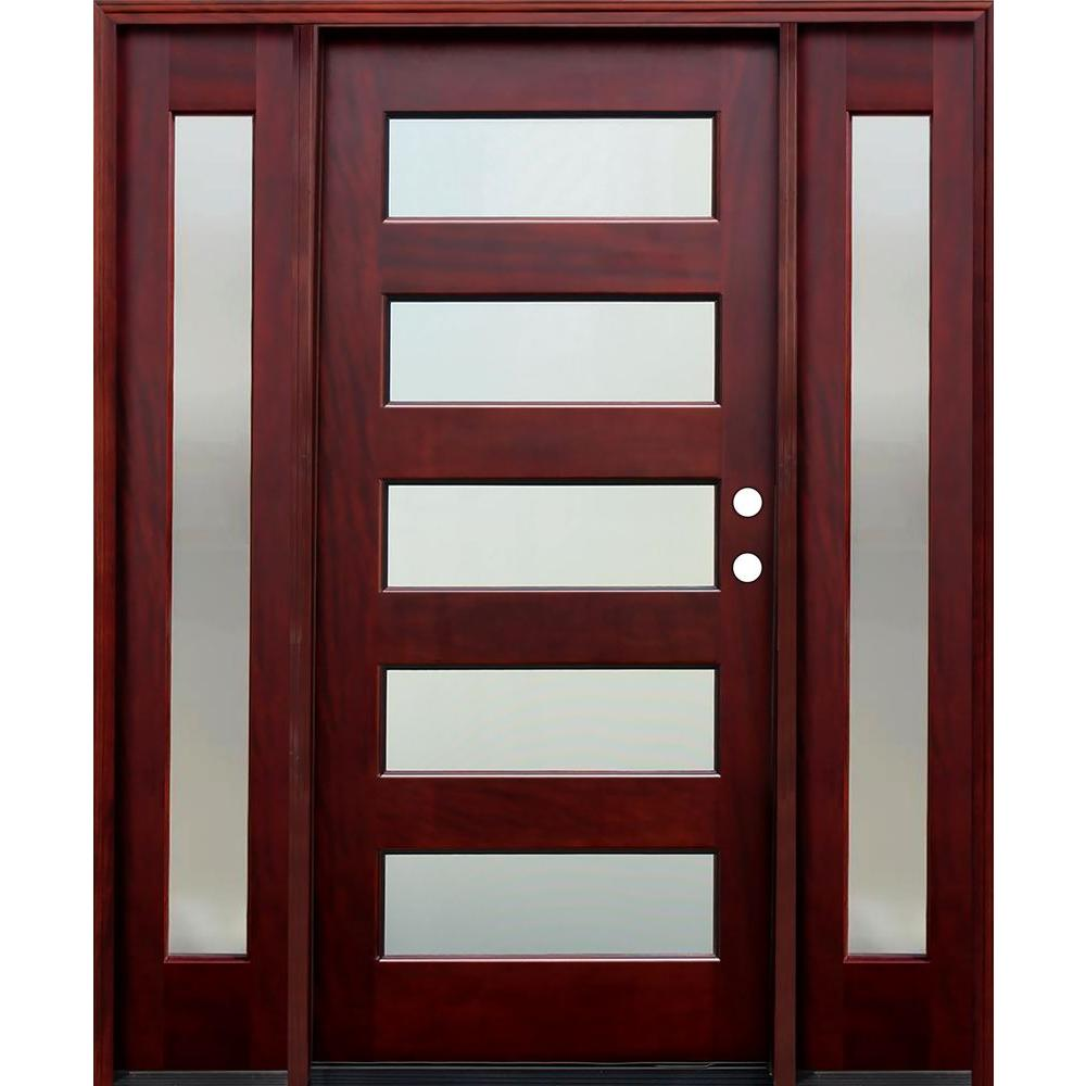 Pacific Entries 70 in. x 80 in. 5 Lite Mistlite Stained Mahogany Wood Prehung Front Door w/ 6 in. Wall Series,14 in. Sidelites