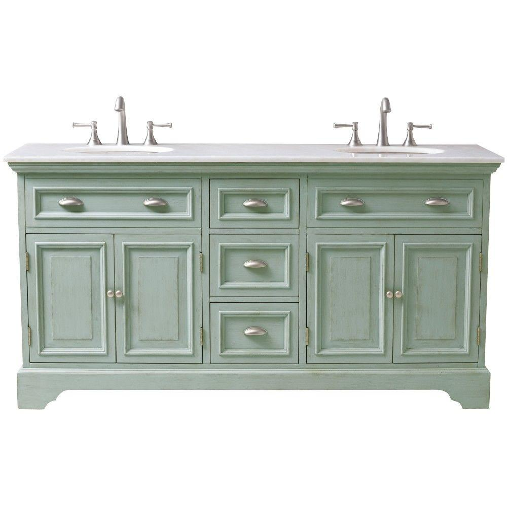 HomeDecoratorsCollection Home Decorators Collection Sadie 67 in. Double Vanity in Antique Blue with Natural Marble Vanity Top in White with White Basin