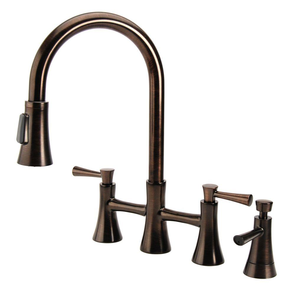 Fontaine Vascada Italian 12 in. 2-Handle Pull-Out Sprayer Bridge Kitchen Sink Faucet with Soap Dispenser Br Bronze-DISCONTINUED