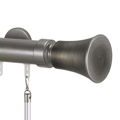 Tekno 40 72 in. Traverse Rod in Antique Silver with Tama 40-Finial