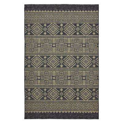 Sun Shower Black/Brown 8 ft. x 10 ft. Indoor/Outdoor Rectangular Area Rug
