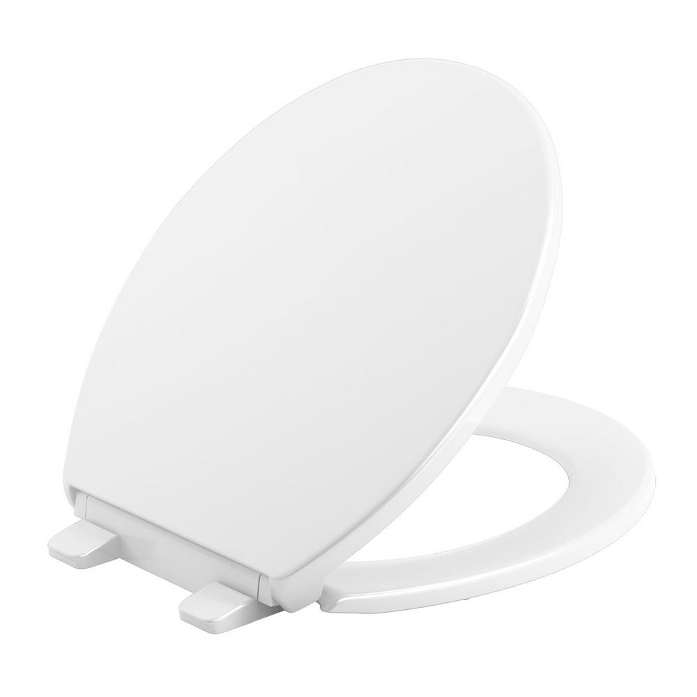 Brevia Slow-Close Round Closed Front Toilet Seat in White