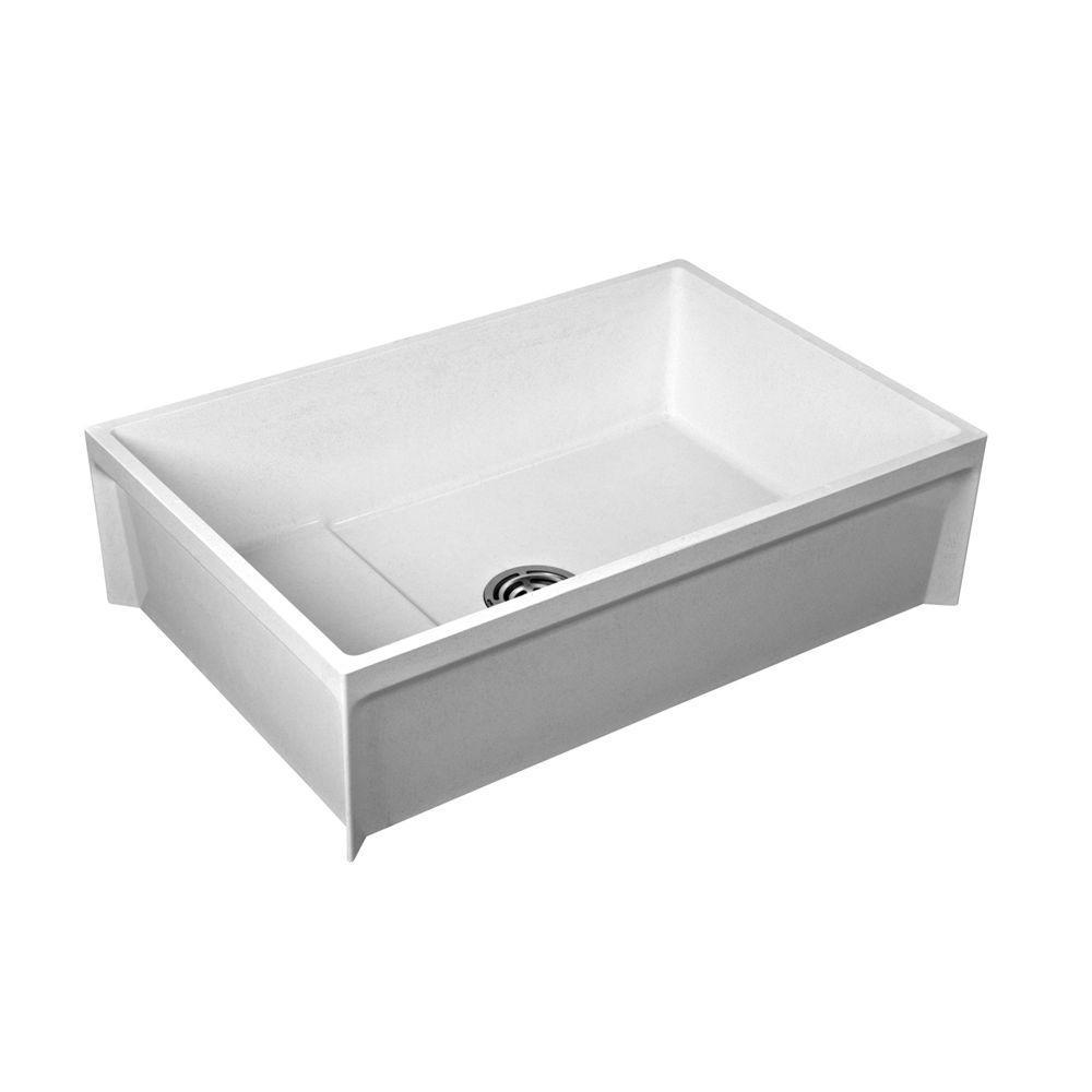 Fiat Mop Sink >> Fiat 24 In X 36 In X 12 In Molded Stone Floor Mount Mop Service