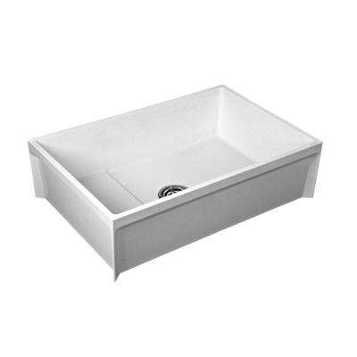 24 in. x 36 in. x 12 in. Molded Stone Floor-Mount Mop Service Basin Tub in White
