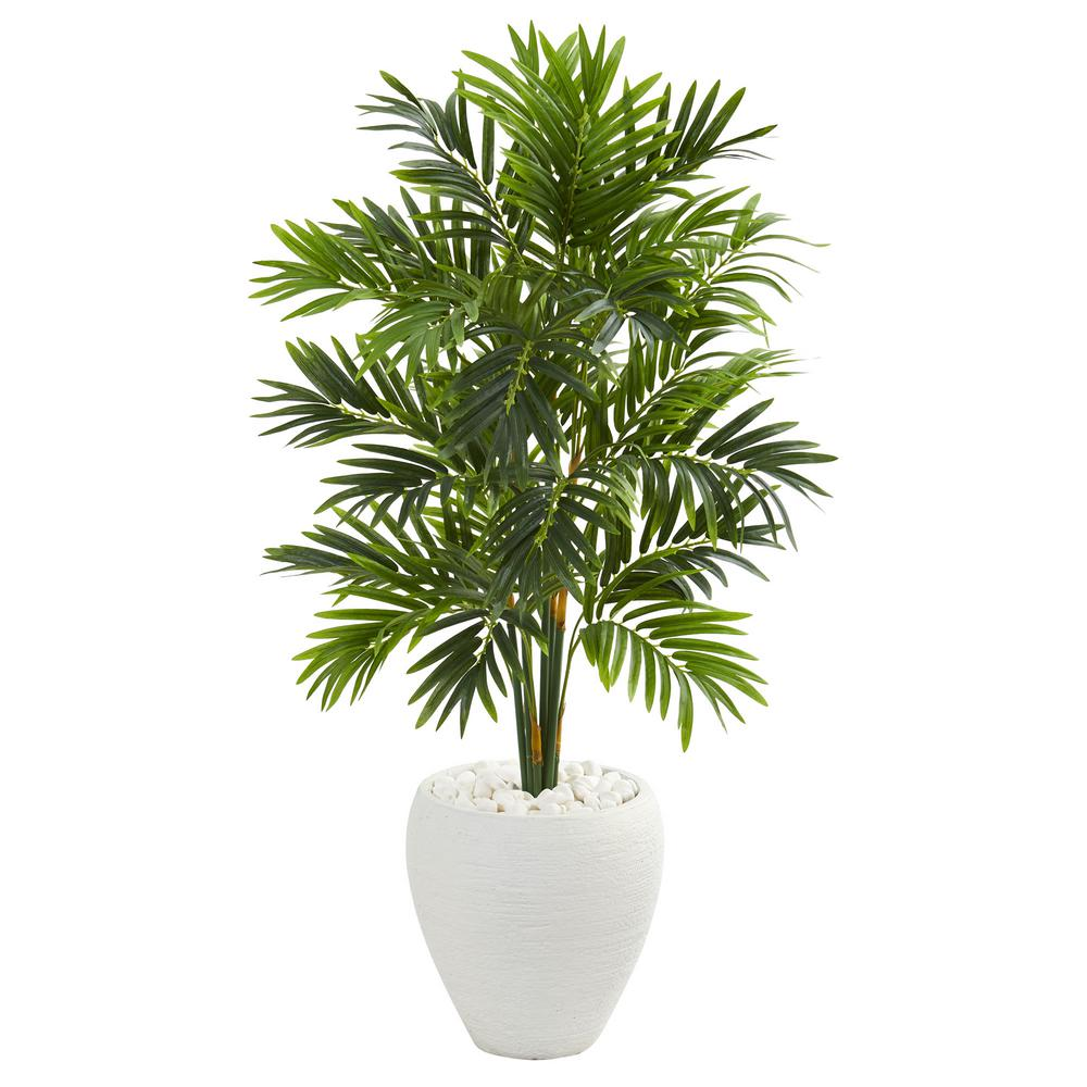 Indoor 4 ft. Areca Artificial Palm Tree in White Planter