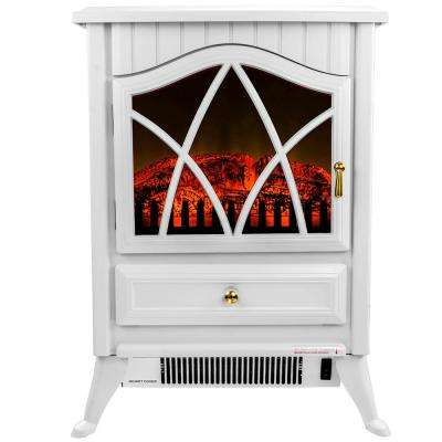 16 in. Freestanding Electric Fireplace Stove Heater in White with Vintage Glass Door, Realistic Flame and Logs
