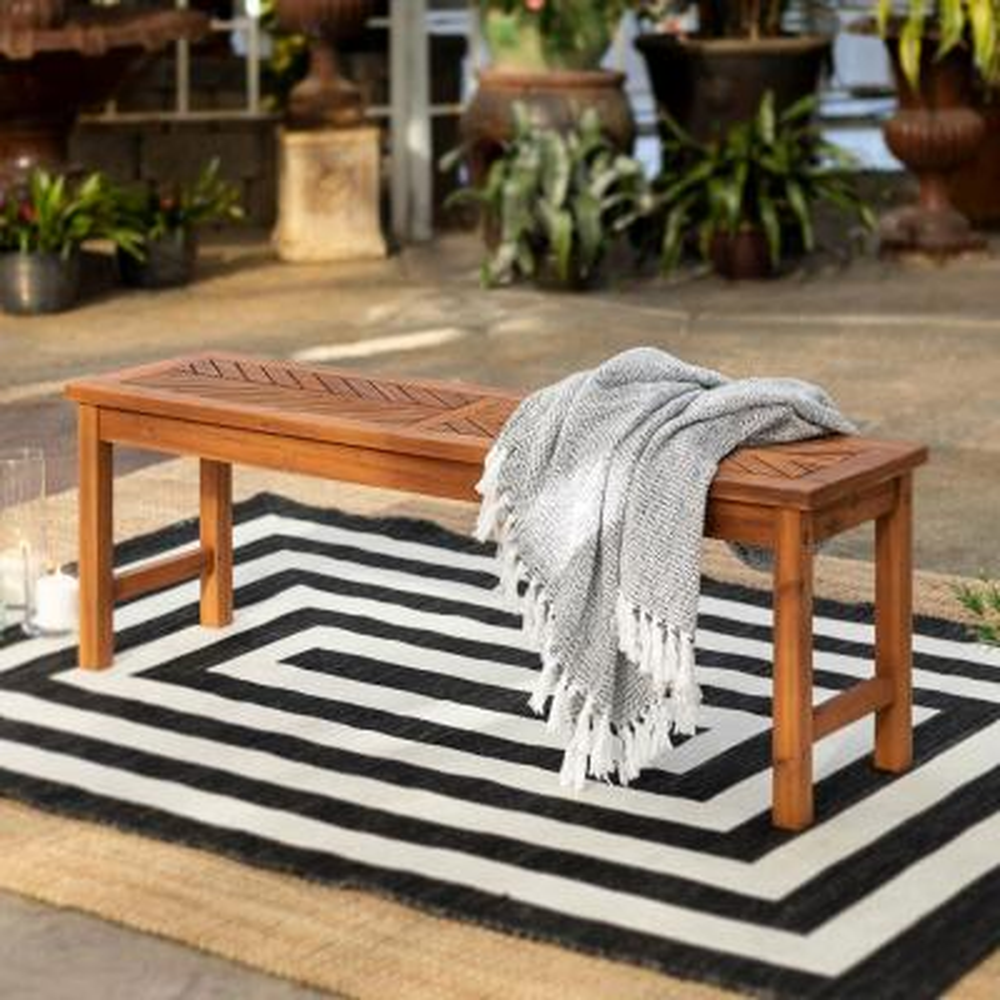Brown Acacia Wood Modern Patio Dining Bench