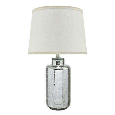 23 in. Antique Crackle Mercury Glass Table Lamp with Empire Shaped Lamp Shade in Off White