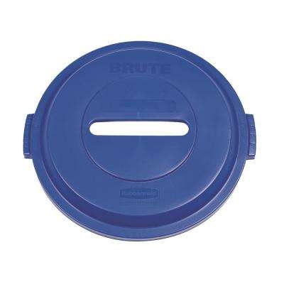 BRUTE 32 Gal. Blue Round Trash Can Paper Recycling Lid