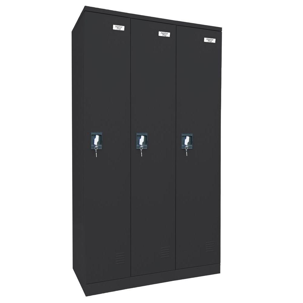Sandusky 72 in. H x 36 in. W x 18 in. D Quick Assembly Triple Wide Locker in Black