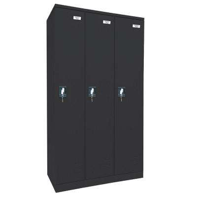 72 in. H x 36 in. W x 18 in. D Quick Assembly Triple Wide Locker in Black