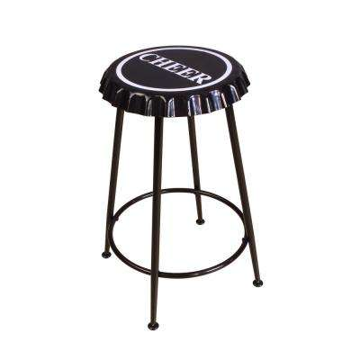 Mant 24 in. Black Bar Stool (Set of 2)