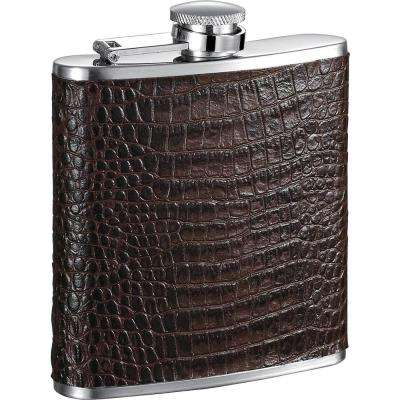 Diablo Handcrafted Brown Leather Liquor Flask