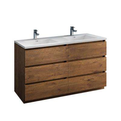 Lazzaro 60 in. Modern Double Bathroom Vanity in Rosewood with Vanity Top in White with White Basins