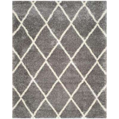 Montreal Shag Grey/Ivory 8 ft. x 10 ft. Area Rug