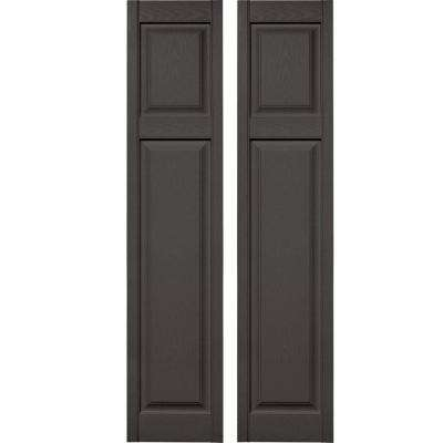 15 in. x 67 in. Cottage Style Raised Panel Vinyl Exterior Shutters Pair #018 Tuxedo Grey