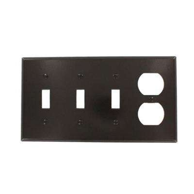 4-Gang Standard Size 3-Toggles 1-Duplex Receptacle Combination Plastic Wall Plate in Brown
