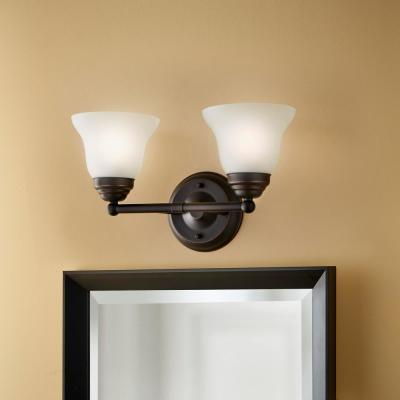 Ashhurst 2-Light Oil Rubbed Bronze Vanity Light with Frosted Glass Shades