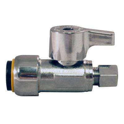 1/2 in. Chrome-Plated Brass Push-to-Connect x 1/4 in. O.D. Compression Quarter-Turn Straight Stop Valve