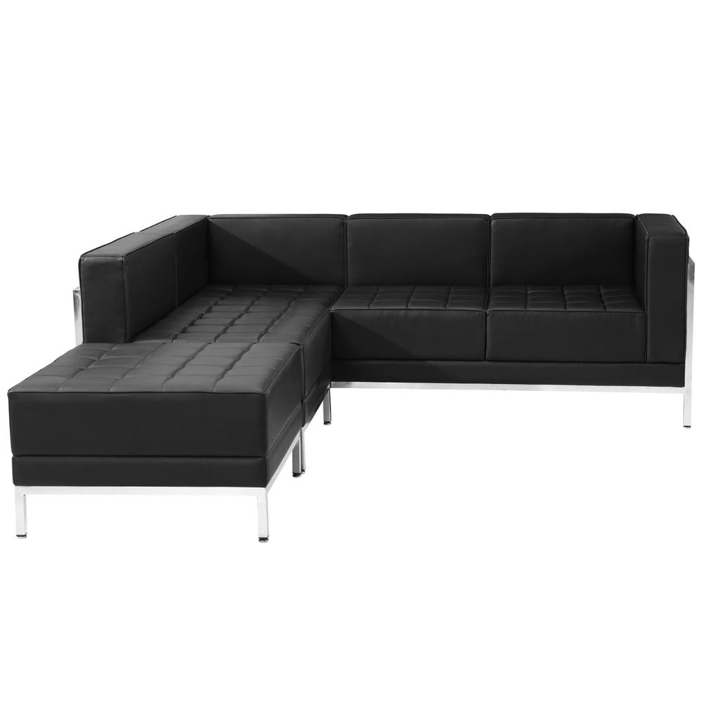 Hercules Imagination Series 3-Pieces Black Leather Sectional Configuration