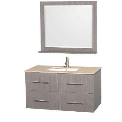 Centra 42 in. Vanity in Gray Oak with Marble Vanity Top in Ivory, Square Sink and 36 in. Mirror