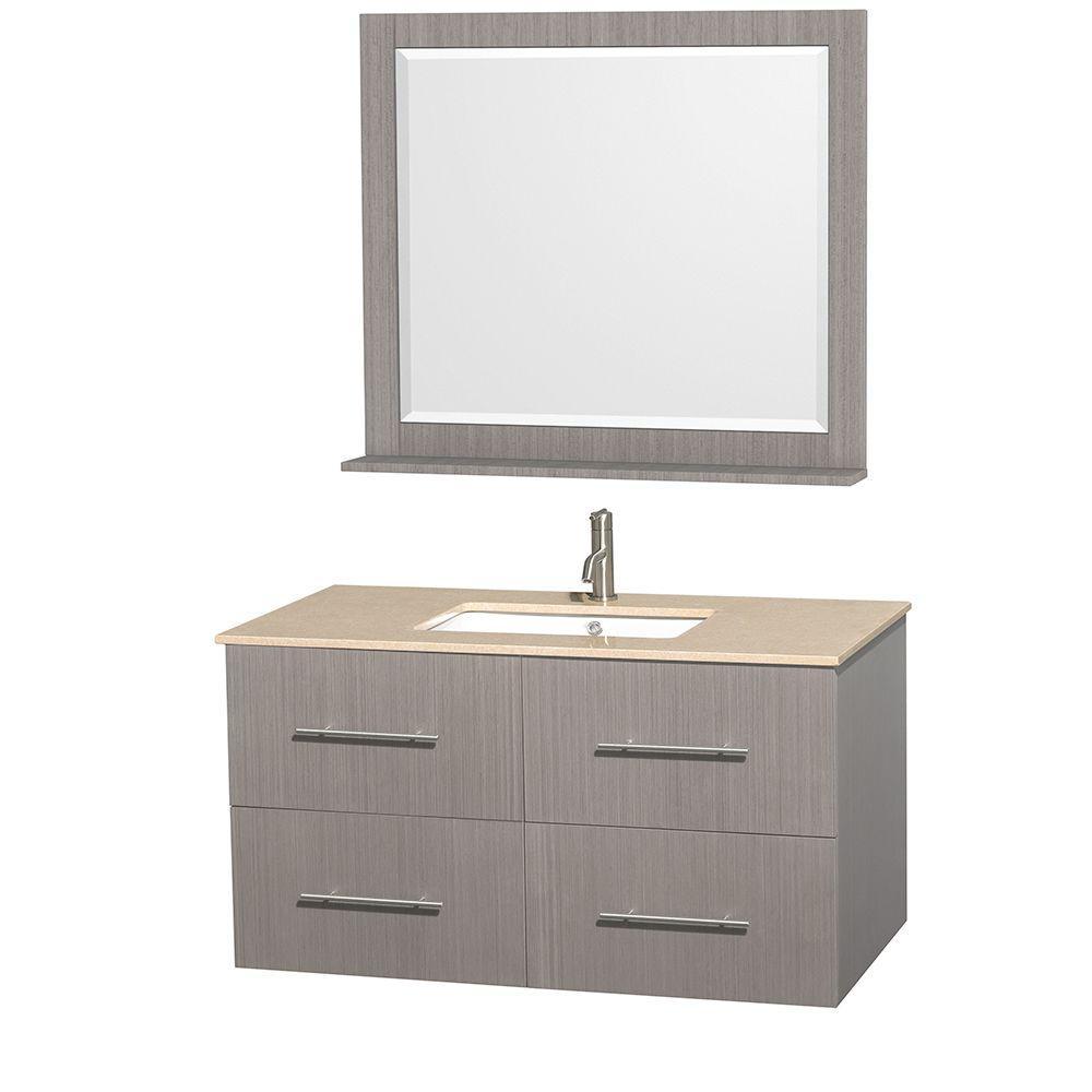 Vanity Gray Oak Marble Vanity Top Ivory Square Sink Mirror