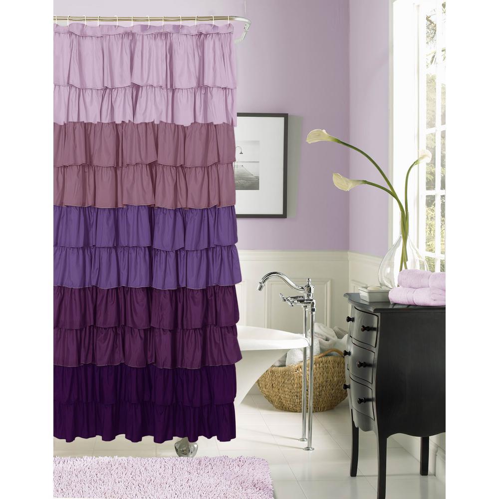 Flamenco 72 in. Purple Ruffled Fabric Shower Curtain