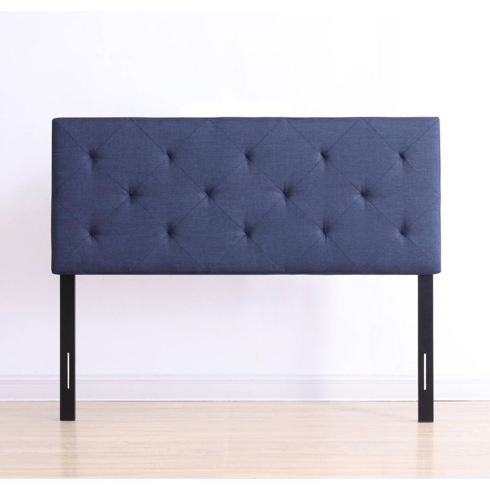 Blue Fabric Queen Upholstered Tufted Rectangular Headboard