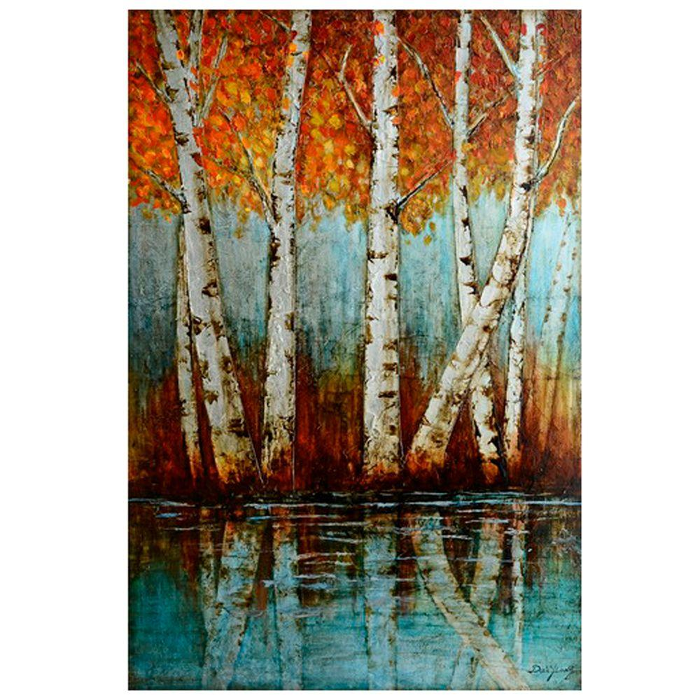 "Yosemite Home Decor 47 in. x 31 in. ""Aspen Grove"" Hand Painted Canvas Wall Art"