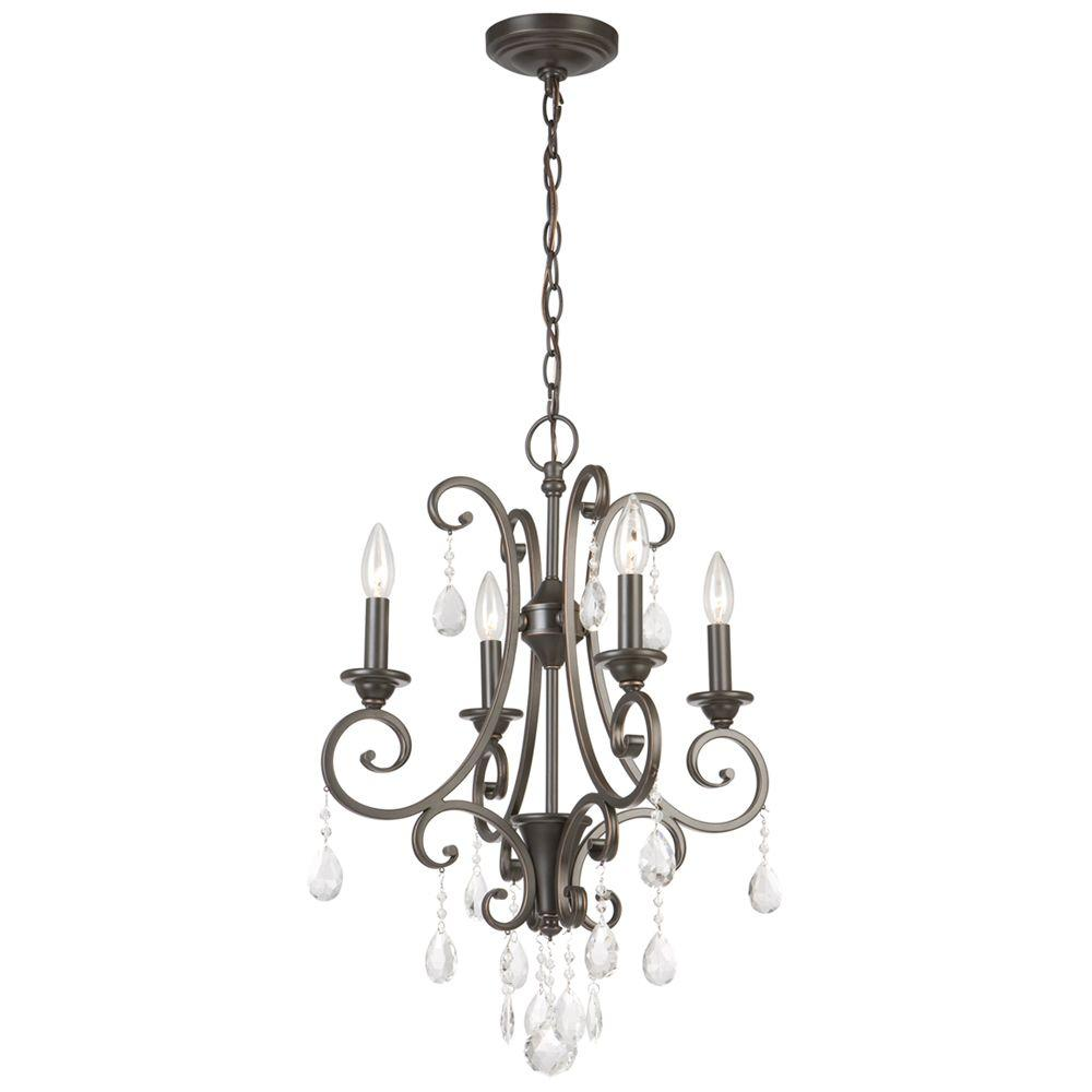 4 Light Oil Rubbed Bronze Crystal Small Chandelier