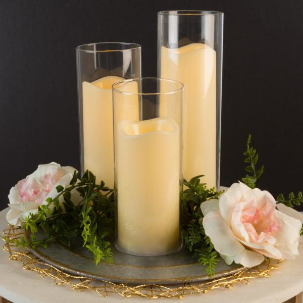 Lavish Home Flameless LED Candles in Cylinder Glass Insert Holders (Set of 3)