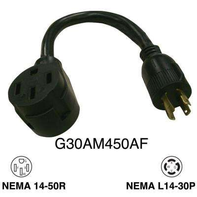 1 ft. 30 Amp Generator Male 4-Prong to RV 50 Amp Female Adapter